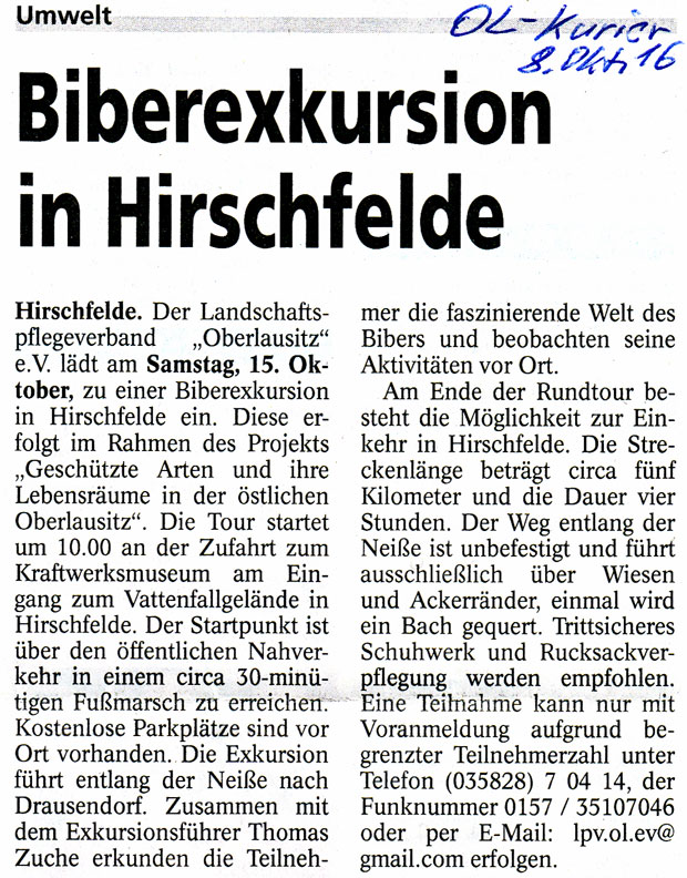 Biberexkursion in Hirschfelde